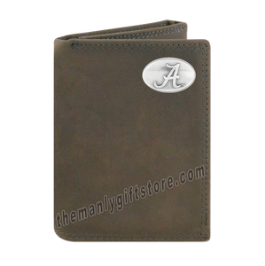 Alabama Crimson Tide Crazy Horse Genuine Leather Trifold Wallet