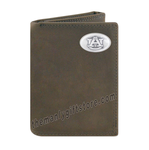Auburn Tigers Crazy Horse Genuine Leather Trifold Wallet