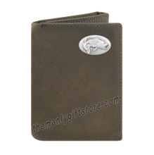 Load image into Gallery viewer, Largemouth Bass  Crazy Horse Genuine Leather Trifold Wallet