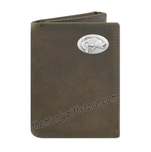 Largemouth Bass  Crazy Horse Genuine Leather Trifold Wallet