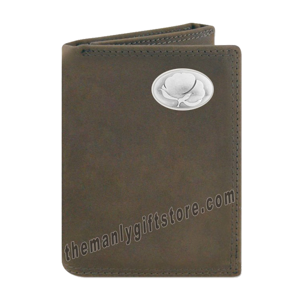 Cotton Logo Crazy Horse Genuine Leather Trifold Wallet