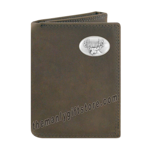 Buck Deer Crazy Horse Genuine Leather Trifold Wallet