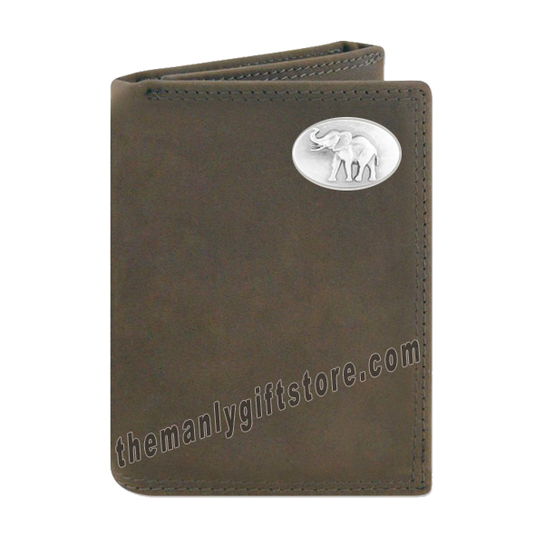 Elephant Alabama  Crazy Horse Leather Trifold Wallet