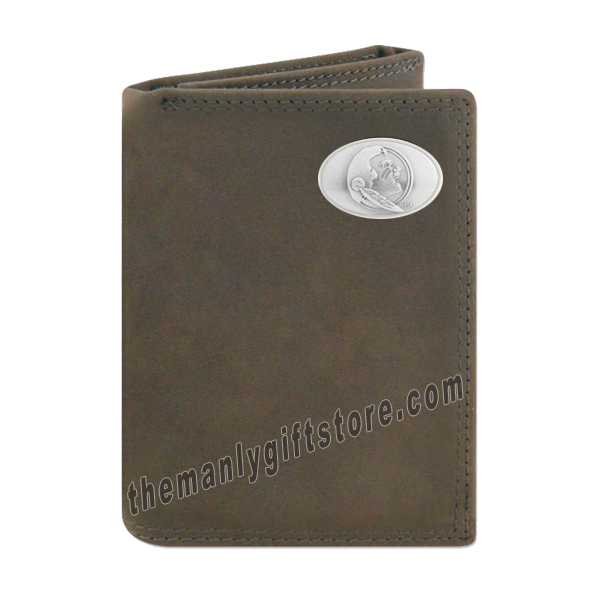 Florida State Seminoles FSU Crazy Horse Genuine Leather Trifold Wallet