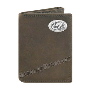 Florida Gators Crazy Horse Genuine Leather Trifold Wallet