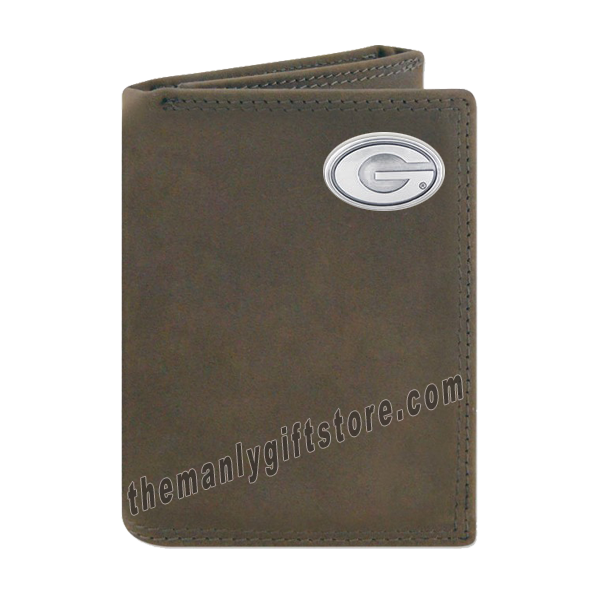 Georgia Bulldogs Crazy Horse Genuine Leather Trifold Wallet