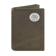 Load image into Gallery viewer, Georgia Bulldogs Mascot Crazy Horse Genuine Leather Trifold Wallet