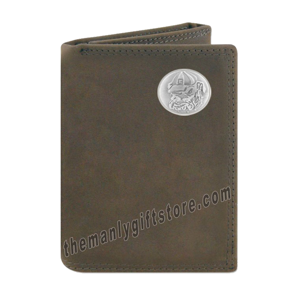 Georgia Bulldogs Mascot Crazy Horse Genuine Leather Trifold Wallet