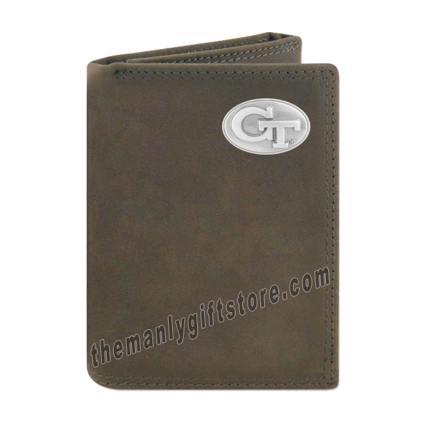 Georgia Tech Yellow Jackets Crazy Horse Leather Trifold Wallet
