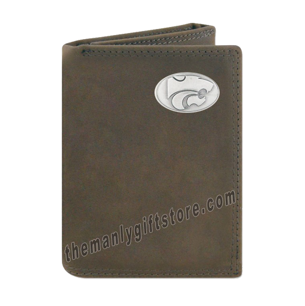 Kansas State Crazy Horse Genuine Leather Trifold Wallet