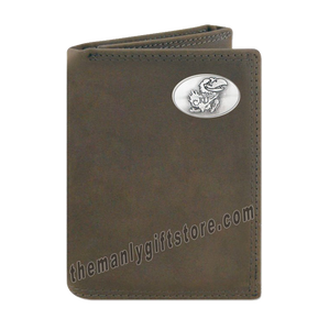 Kansas Jayhawks Crazy Horse Genuine Leather Trifold Wallet
