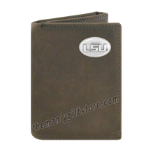 Load image into Gallery viewer, Louisiana State University LSU Crazy Horse Genuine Leather Trifold Wallet