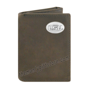 Louisiana State University LSU Crazy Horse Genuine Leather Trifold Wallet