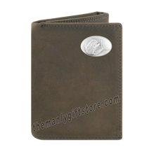Load image into Gallery viewer, Dolphin Mahi Mahi Crazy Horse Genuine Leather Trifold Wallet
