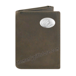 Dolphin Mahi Mahi Crazy Horse Genuine Leather Trifold Wallet