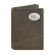 Load image into Gallery viewer, Marshall University Crazy Horse Genuine Leather Trifold Wallet