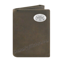 Load image into Gallery viewer, Mississippi State Bulldogs Crazy Horse Genuine Leather Trifold Wallet