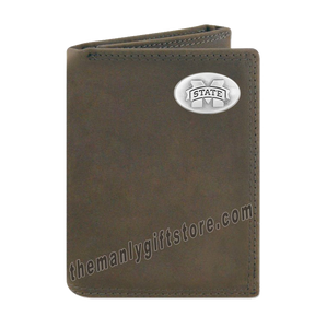Mississippi State Bulldogs Crazy Horse Genuine Leather Trifold Wallet