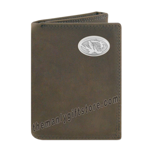Missouri Tigers Crazy Horse Genuine Leather Trifold Wallet