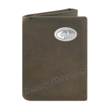 Load image into Gallery viewer, Mossy Oak Logo Crazy Horse Genuine Leather Trifold Wallet