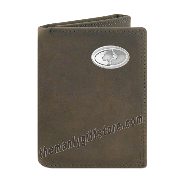 Mossy Oak Logo Crazy Horse Genuine Leather Trifold Wallet