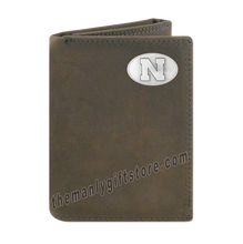 Load image into Gallery viewer, Nebraska Cornhuskers Crazy Horse Genuine Leather Trifold Wallet