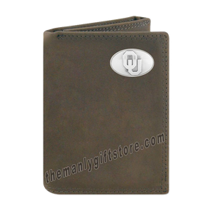Oklahoma Sooners Crazy Horse Genuine Leather Trifold Wallet