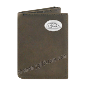 Ole Miss Rebels Crazy Horse Genuine Leather Trifold Wallet