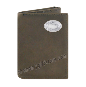 Penn State Nittany Lion Crazy Horse Genuine Leather Trifold Wallet