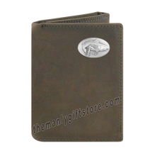Load image into Gallery viewer, Saltwater Redfish Crazy Horse Genuine Leather Trifold Wallet