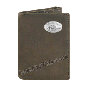 Saltwater Redfish Crazy Horse Genuine Leather Trifold Wallet