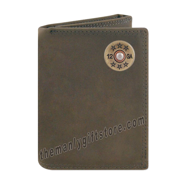 Shotgun Shell  Crazy Horse Genuine Leather Trifold Wallet
