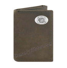 Load image into Gallery viewer, South Carolina Gamecocks Crazy Horse Leather Trifold Wallet