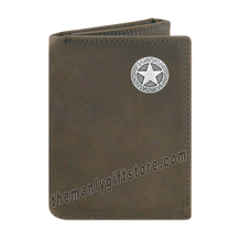 Load image into Gallery viewer, Texas Star Crazy Horse Genuine Leather Trifold Wallet