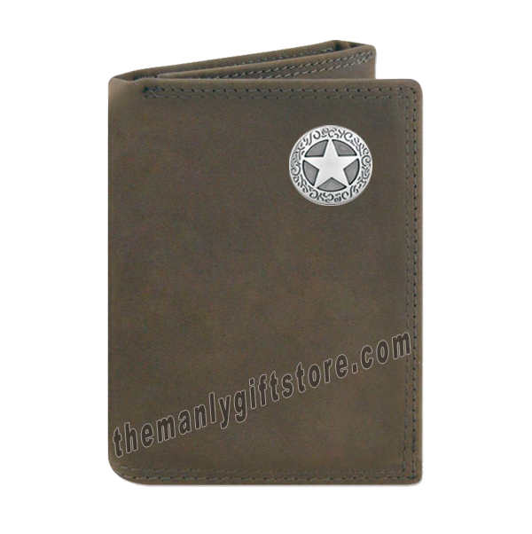 Texas Star Crazy Horse Genuine Leather Trifold Wallet