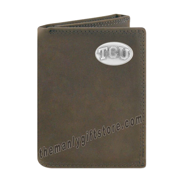 Texas Christian University TCU Crazy Horse Genuine Leather Trifold Wallet