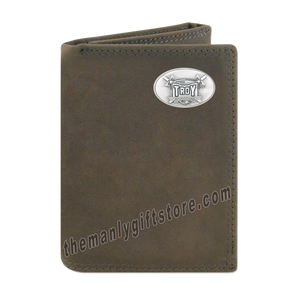 Troy Alabama Trojans Crazy Horse Genuine Leather Trifold Wallet
