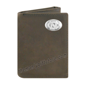 UNC North Carolina Tar Heels Crazy Horse Leather Trifold Wallet