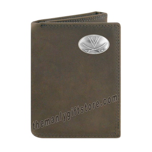 Virginia Cavaliers Crazy Horse Genuine Leather Trifold Wallet