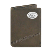 Load image into Gallery viewer, Virginia Tech Hokies Crazy Horse Genuine Leather Trifold Wallet