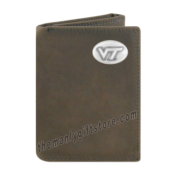 Virginia Tech Hokies Crazy Horse Genuine Leather Trifold Wallet