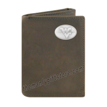 Load image into Gallery viewer, West Virginia  Crazy Horse Genuine Leather Trifold Wallet
