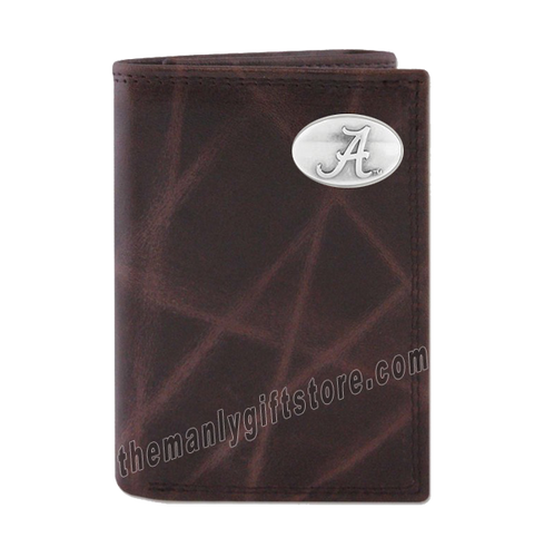 Alabama Crimson Tide Wrinkle Zep Pro Leather Trifold Wallet