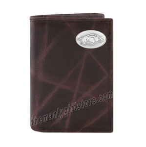 Arkansas Razorbacks Wrinkle Zep Pro Leather Trifold Wallet