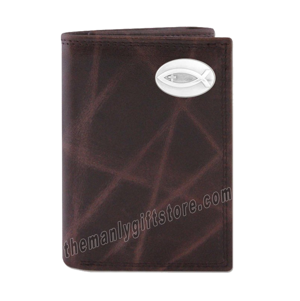 Ichthys Christian Fish Wrinkle Zep Pro Leather Trifold Wallet