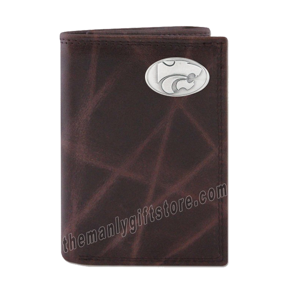 Kansas State Wrinkle Zep Pro Leather Trifold Wallet
