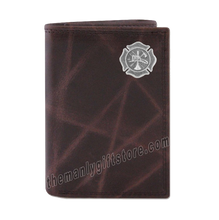 Load image into Gallery viewer, Maltese Cross Fireman Wrinkle Zep Pro Leather Trifold Wallet
