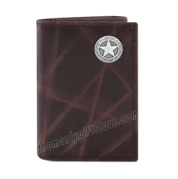 Texas Star Wrinkle Zep Pro Leather Trifold Wallet