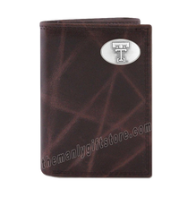 Load image into Gallery viewer, Texas Tech Red Raiders Wrinkle Zep Pro Leather Trifold Wallet