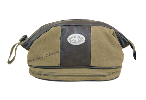 Arkansas Zep Pro Khaki Canvas Concho Toiletry Bag
